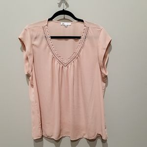 Women's Cap-Sleeve, V-Neck, Pink Chiffon Shirt